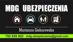 1 wizytówka 90x50 Marianna Gieburowska BEZ Adresu